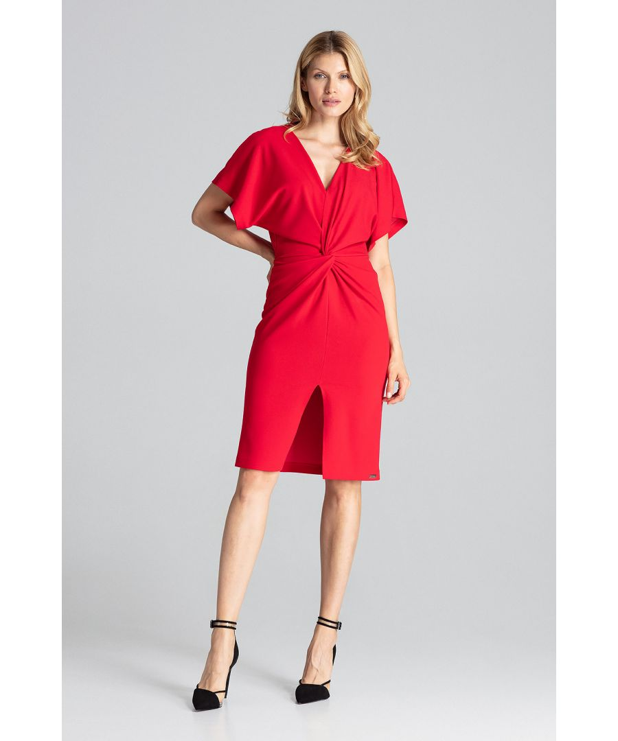 Image for Red Elegant Midi Dress