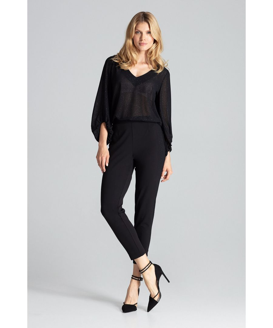 Image for Black feminine pants with brocade stripes, slightly tapered legs
