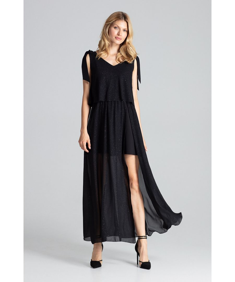Image for Sensual sleeveless maxi dress, tied at the shoulders with a large deep neckline