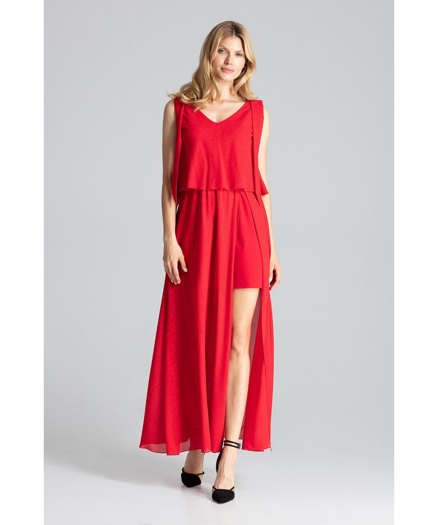 Image for Red Sensual Sleeveless Maxi Dress, Tied At The Shoulders With A Large Deep Neckline
