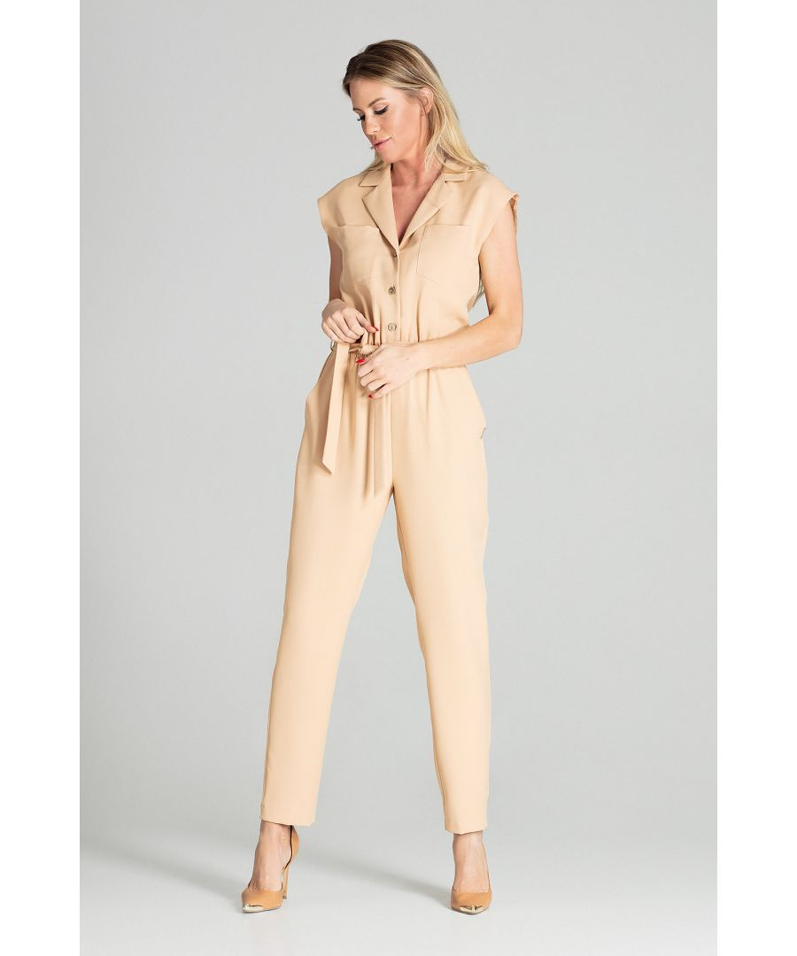 Image for Beige Sleeveless Jumpsuit