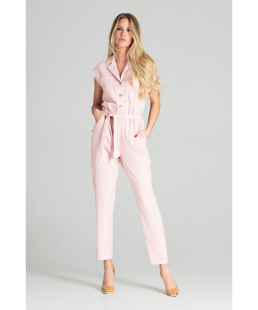Image for Pink Sleeveless Jumpsuit with Falling Shoulders