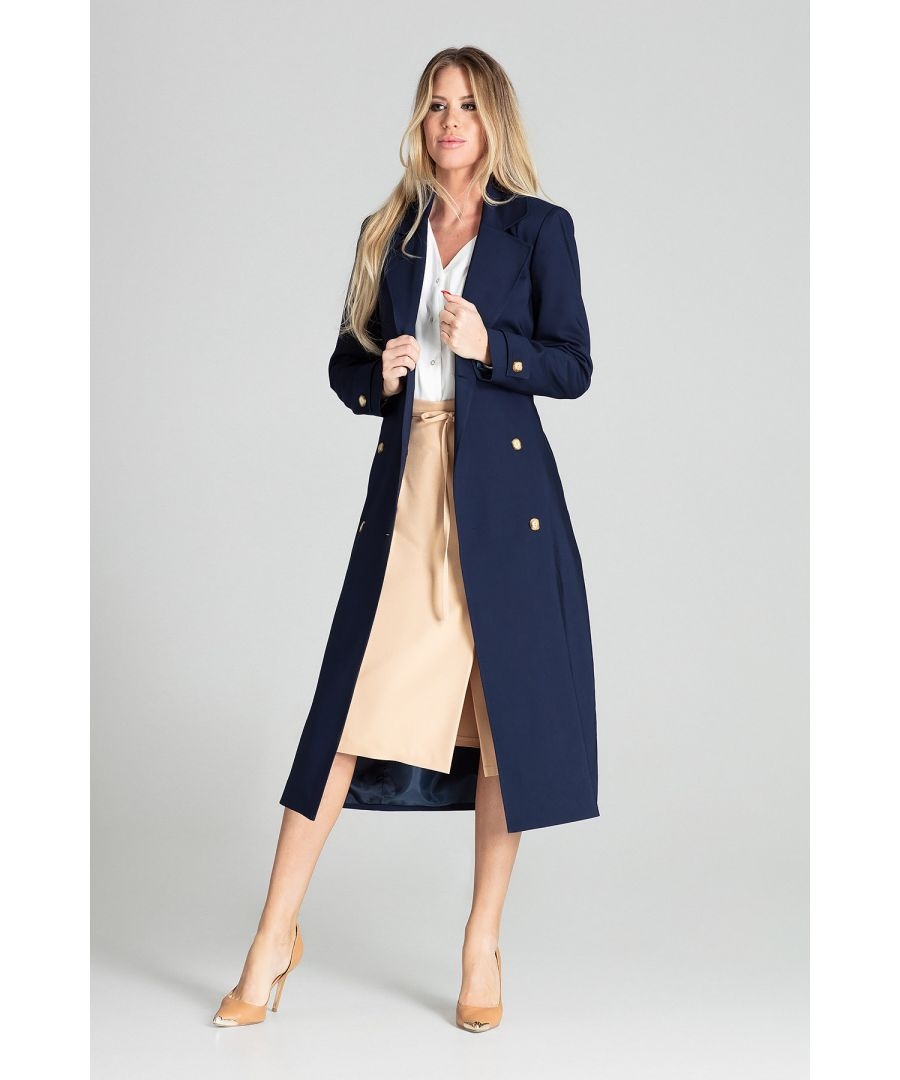 Image for Navy Long Classic Spring Coat With Lining