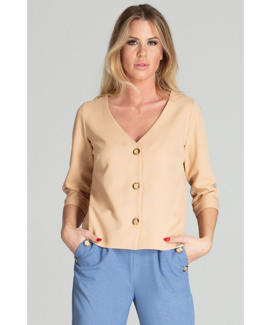 Image for Beige Three-Quarter Length Cuffed Blouse