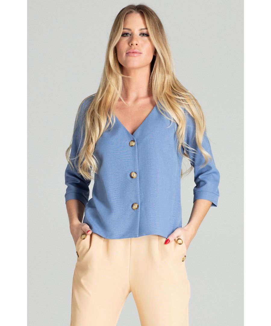 Image for Blue Short Simple Blouse