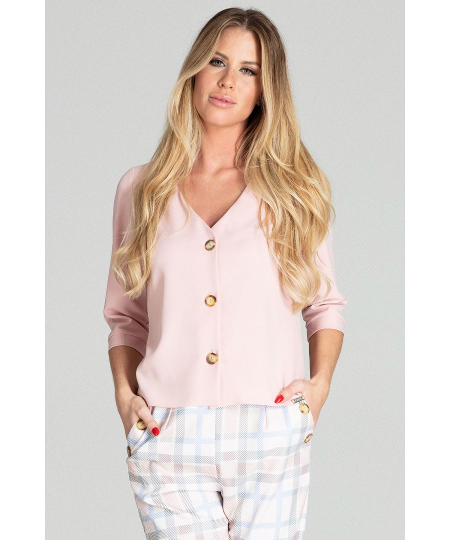 Image for Light pink short, simple blouse with 3/4 sleeves and a cuff