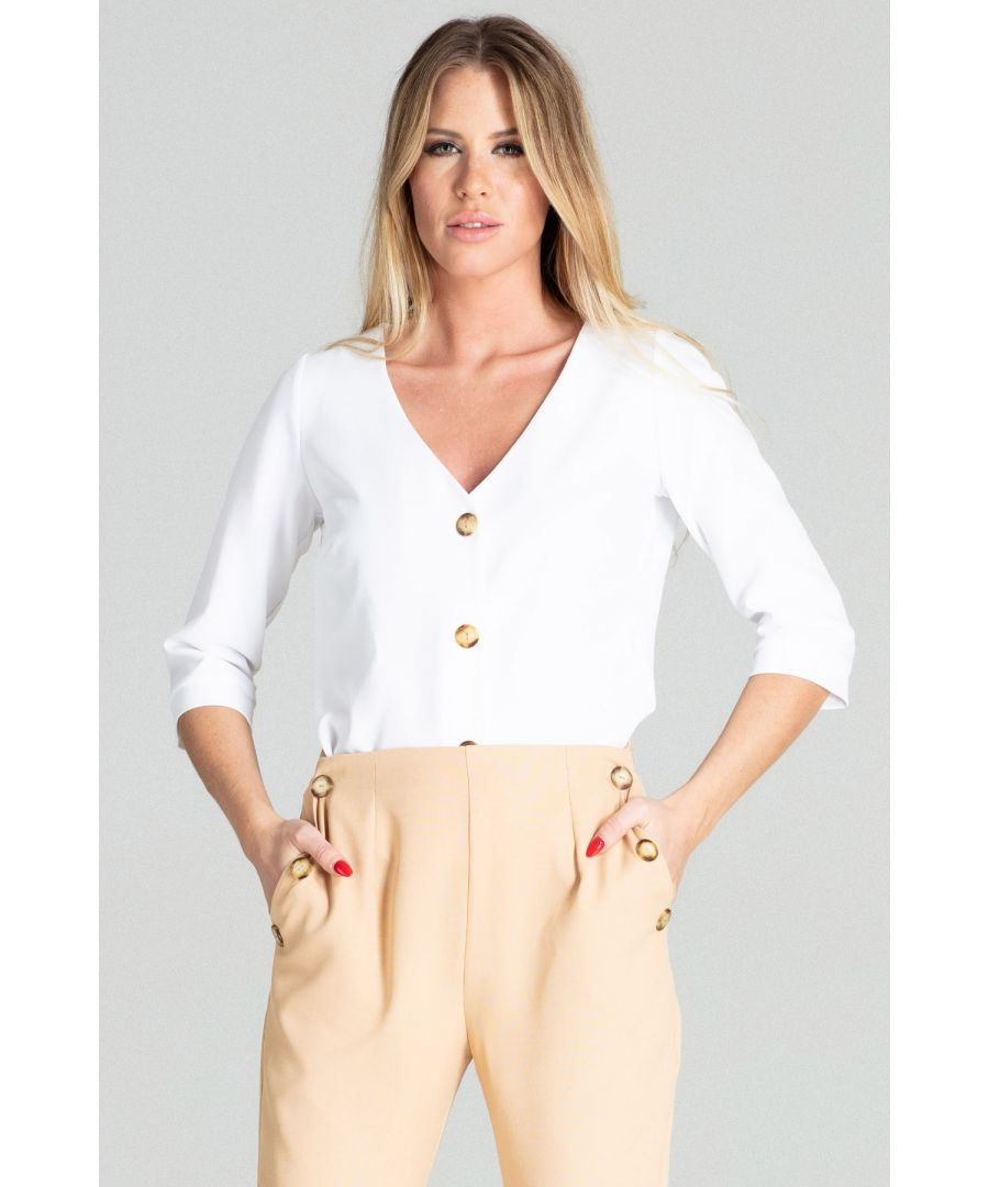 Image for White Short Simple Blouse
