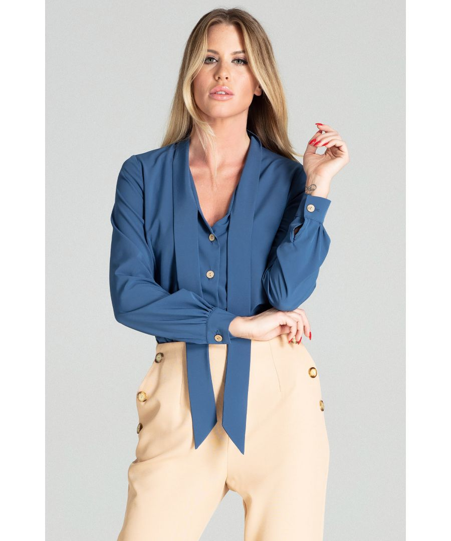 Image for Navy short spring blouse with long sleeves, with a buttoned cuff