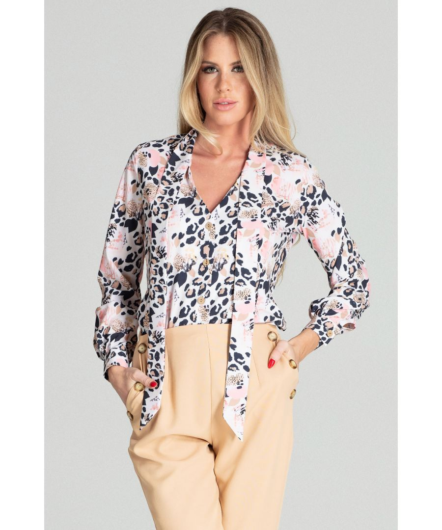 Image for Leopard print short spring blouse with long sleeves, with a buttoned cuff