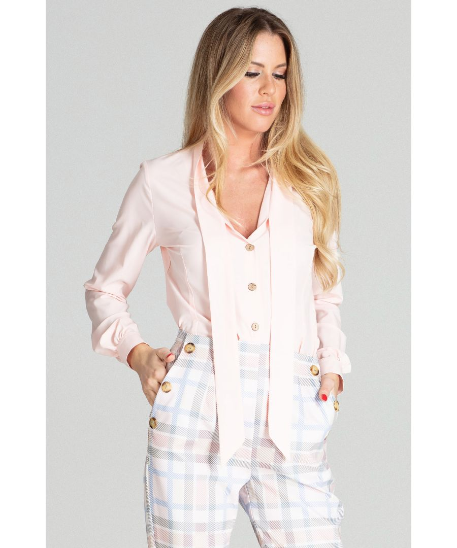 Image for Light pink short spring blouse with long sleeves, with a buttoned cuff