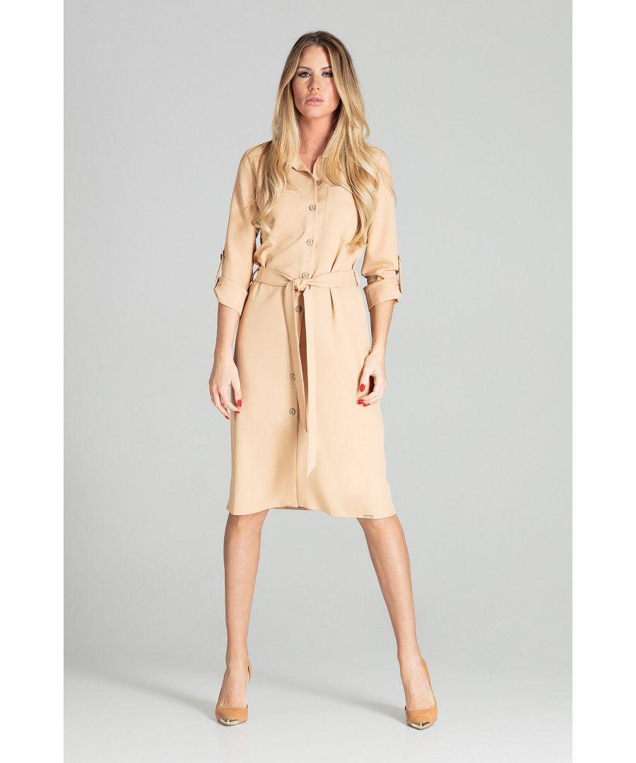 Image for Beige Long Shirt Dress