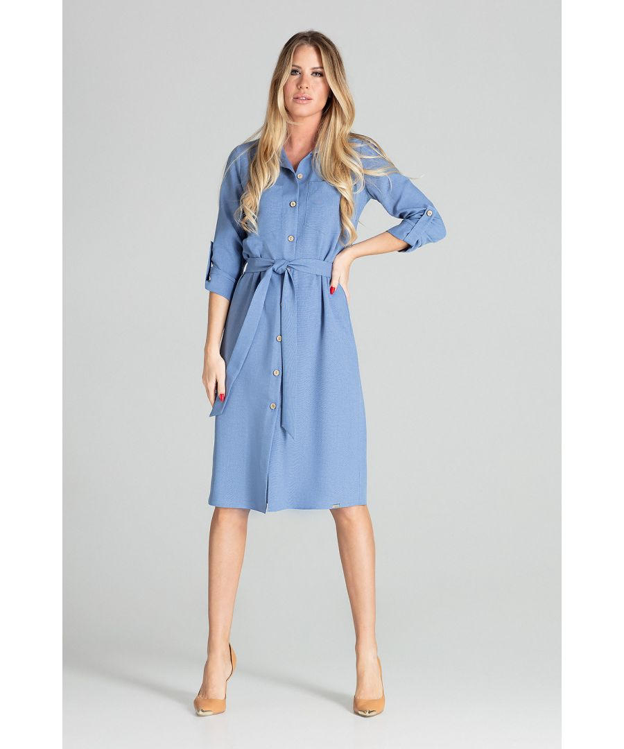 Image for Blue Long Shirt Dress