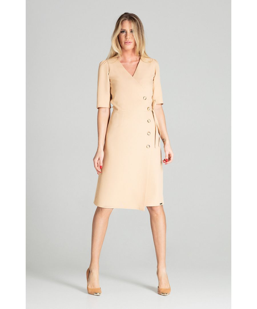 Image for Beige Wrap Midi Dress