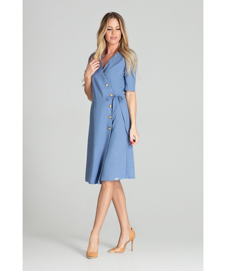 Image for Blue Wrap Midi Dress