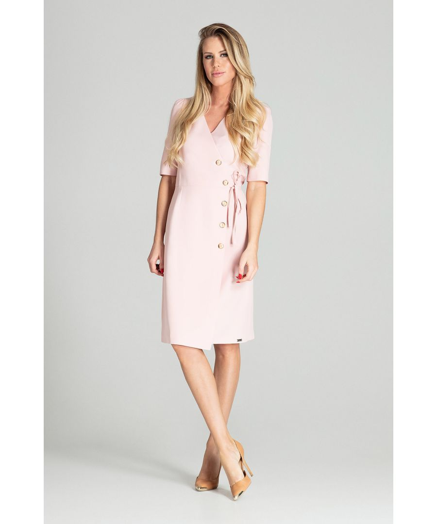Image for Light Pink Wrap Midi Dress