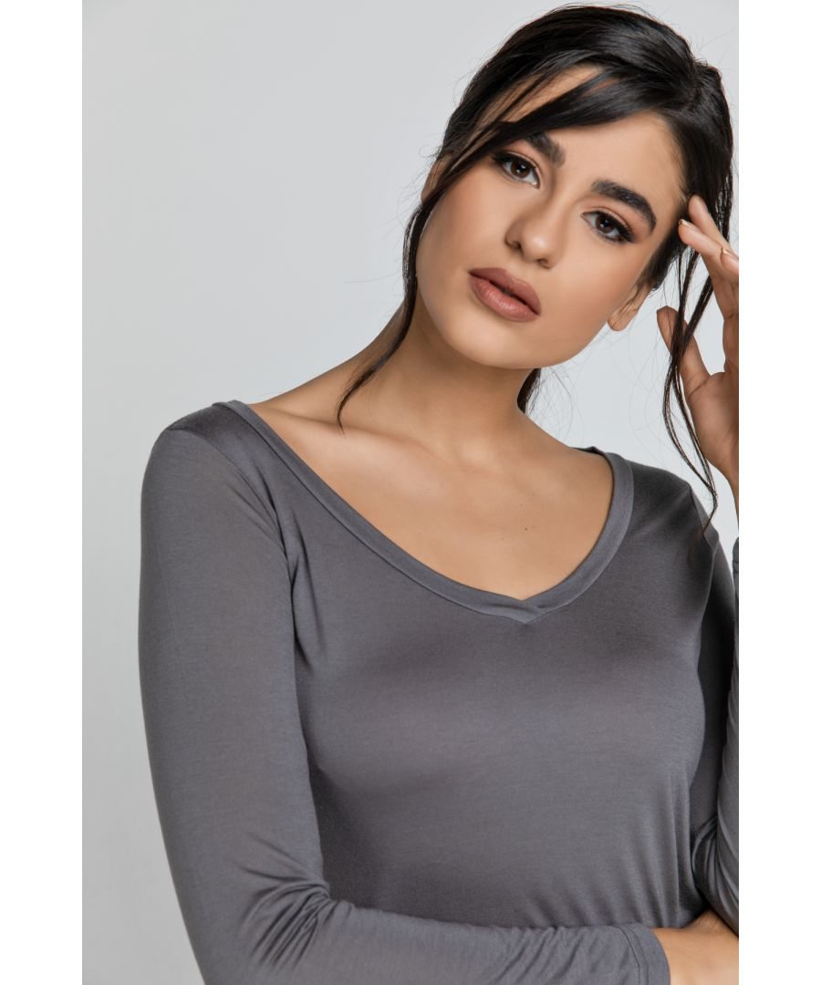 Image for Dark Grey V Neck Top by SWL