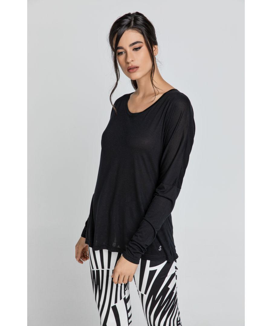 Image for Black Top with Long Batwing Sleeves by SWL