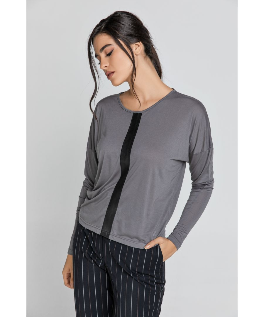 Image for Dark Grey Top with Faux Leather Detail