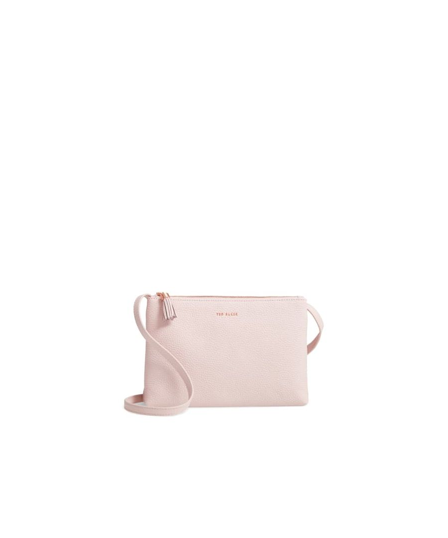 Image for Ted Baker Maceyy Tassel Leather Double Zip Cross Body Bag, Pale Pink