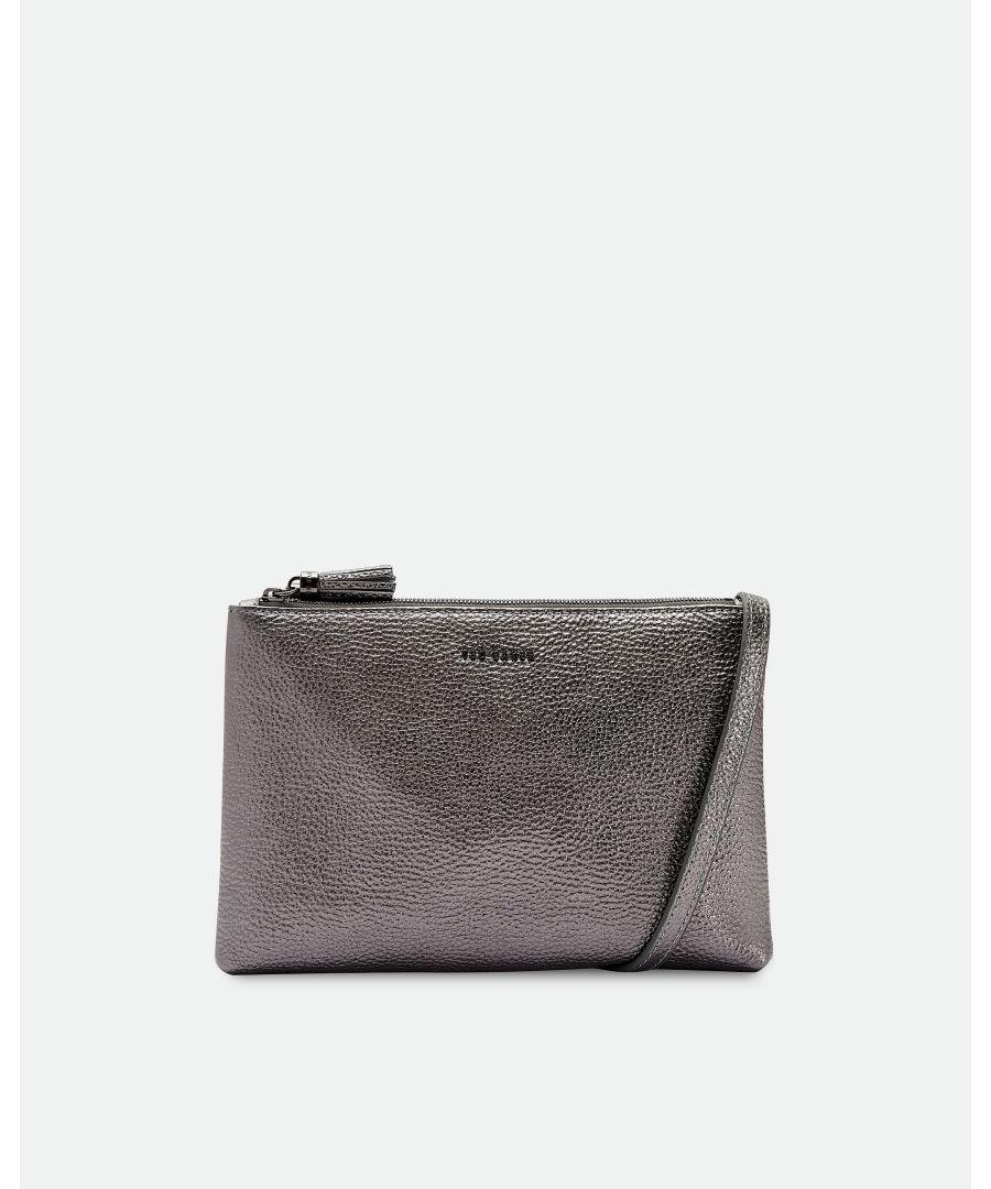 Image for Ted Baker Maceyy Tassel Leather Double Zip Cross Body Bag, Gunmetal