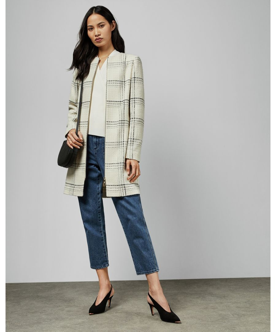 Image for Ted Baker Mairey Boucle Checked Coat, White