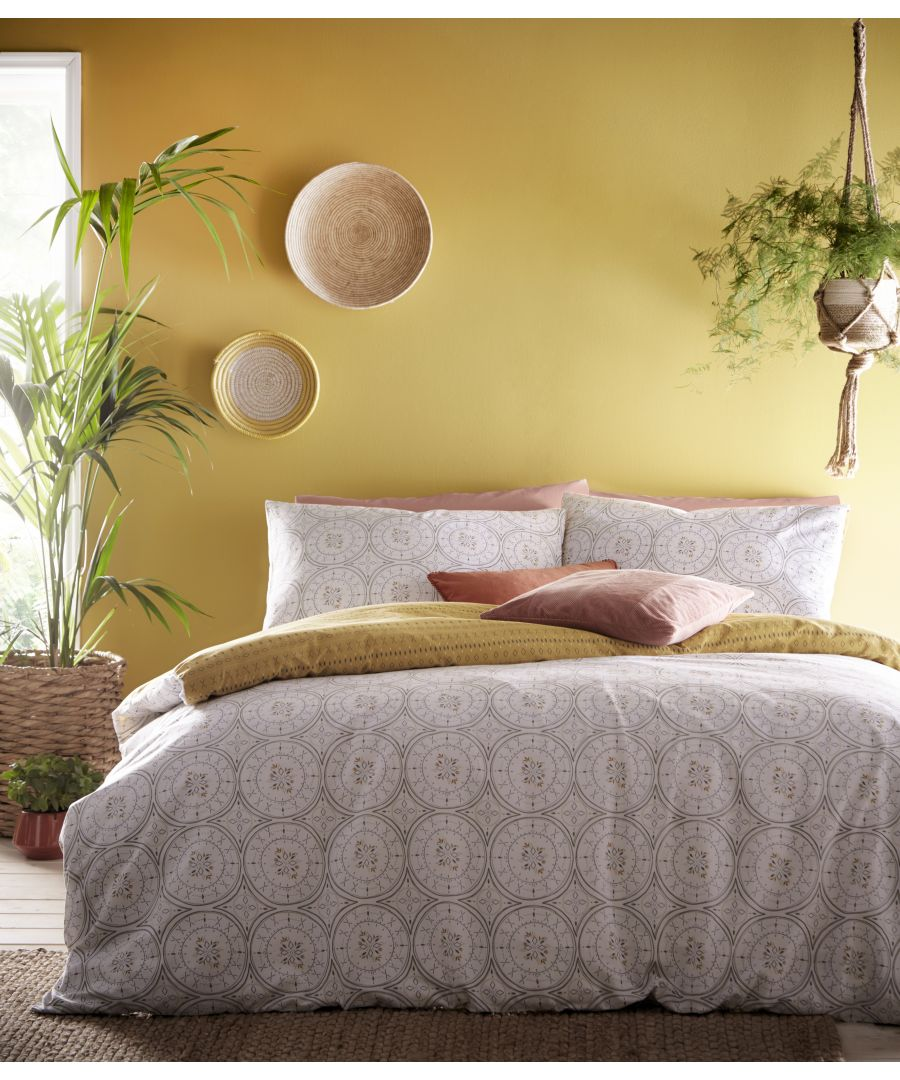 Image for Mandala Duvet Set Grey/Ochre