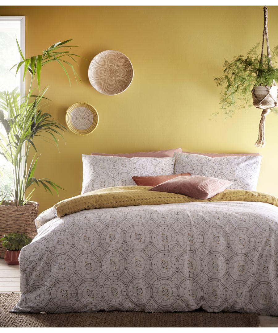 Image for Mandala Duvet Set Grey/Ochre