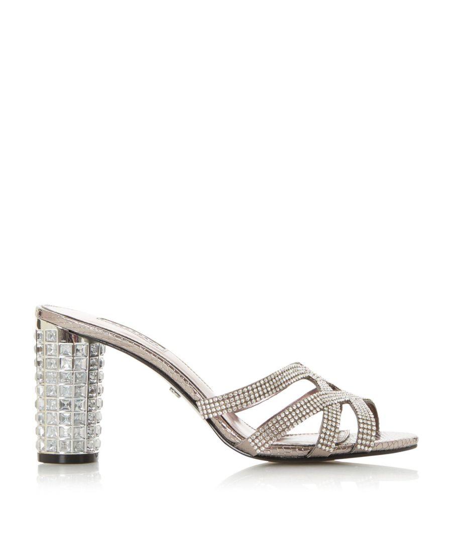 Image for Dune Ladies MARIDA Diamante Embellished High Block Heel Sandals