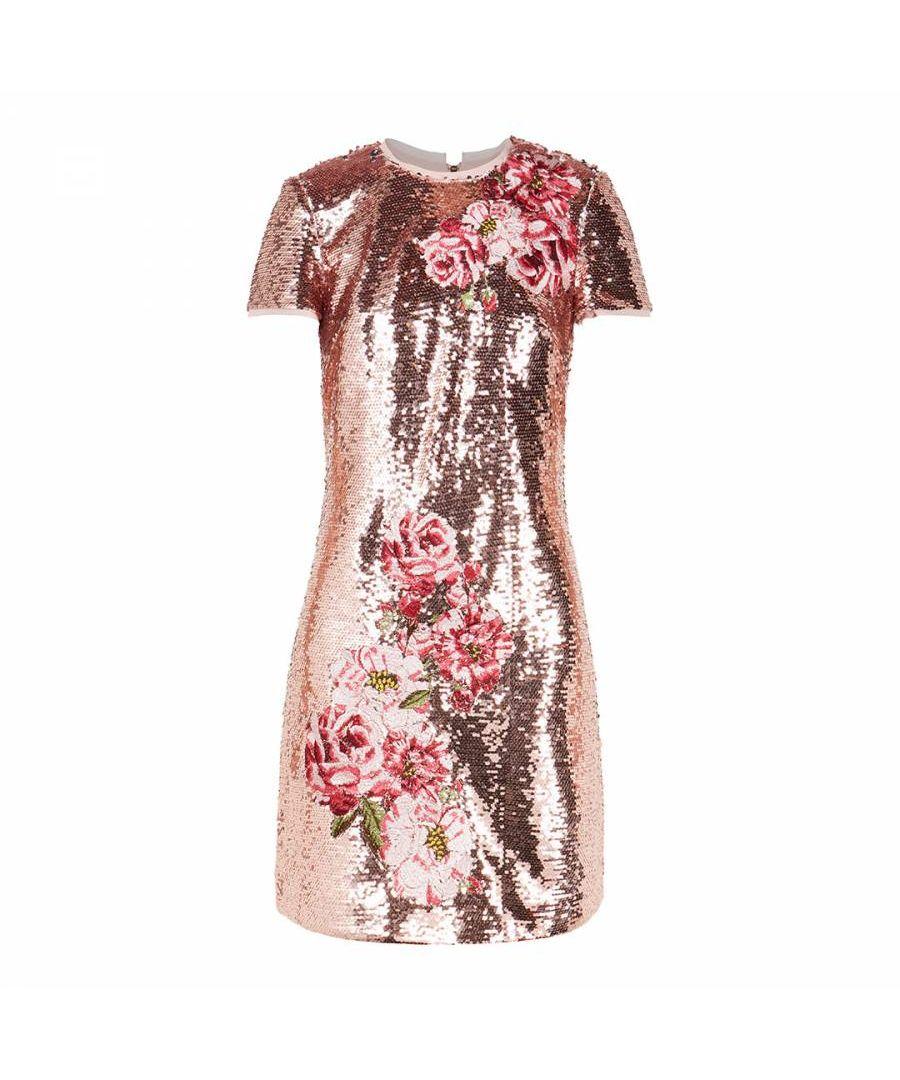 Image for Ted Baker Marrta Embroidered Sequin Shift Dress, Pink