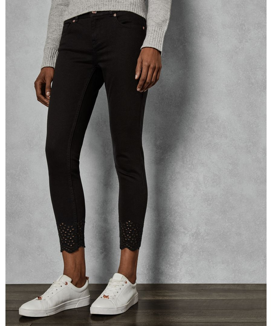 Image for Ted Baker Massiee Embroidered Jeans, Black