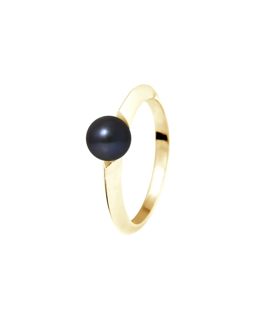 Image for DIADEMA - Ring - Diamonds and Yellow Gold - Real Freshwater Pearls - Black Tahitian Style