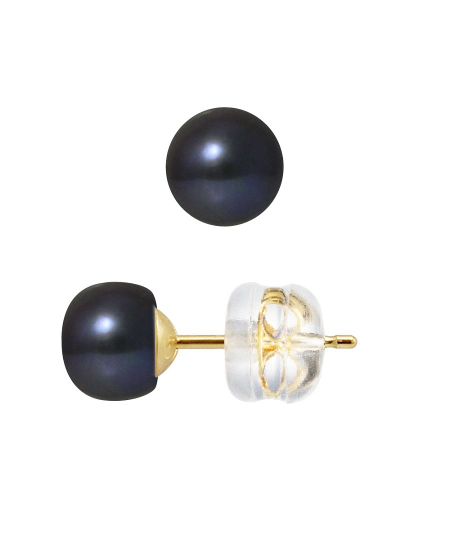 Image for DIADEMA - Earrings - Real Freshwater Pearls - Black Tahitian Style - Yellow Gold