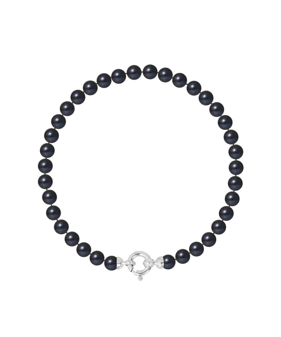 Image for DIADEMA - Bracelet - Real Freshwater Pearls - Black Tahitian Style - White Gold