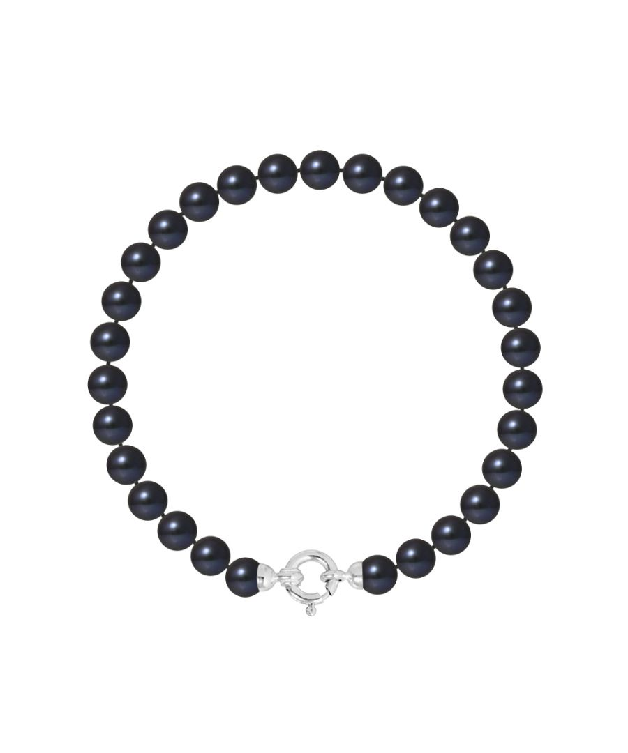 Image for DIADEMA - Bracelet - Real Freshwater Pearls - Black Tahitian Style- White Gold