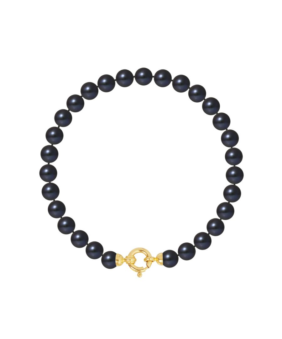 Image for DIADEMA - Bracelet - Real Freshwater Pearls - Black Tahitian Style- Yellow Gold