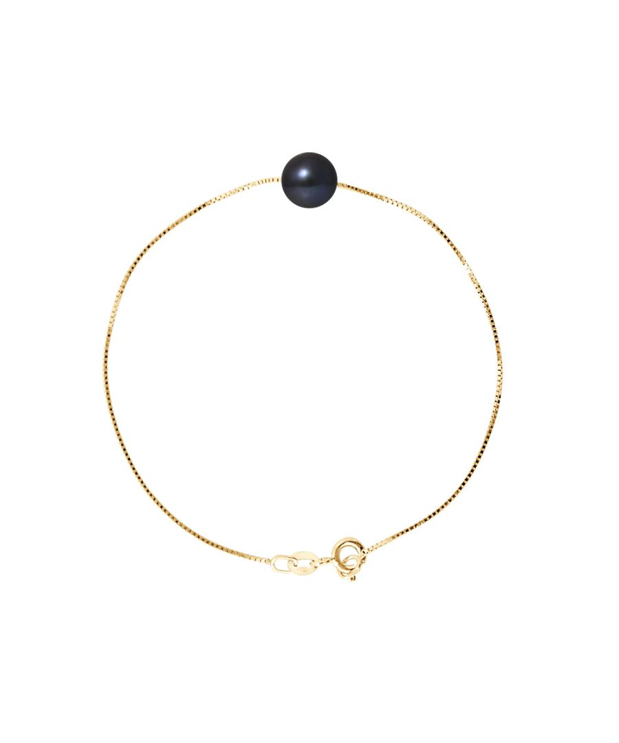 Image for DIADEMA - Bracelet - Real Freshwater Pearls - Black - Yellow Gold