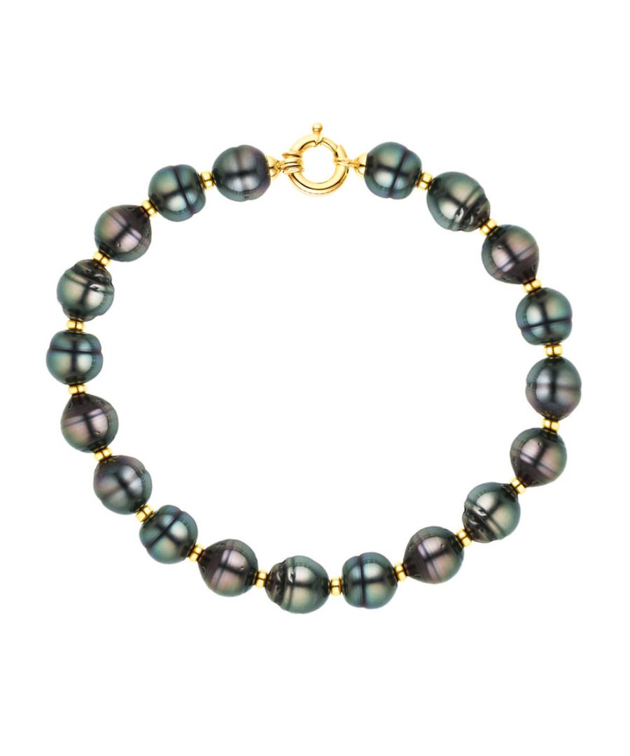 Image for DIADEMA - Bracelet - Real Tahitian Pearls - Rainbow - Yellow Gold