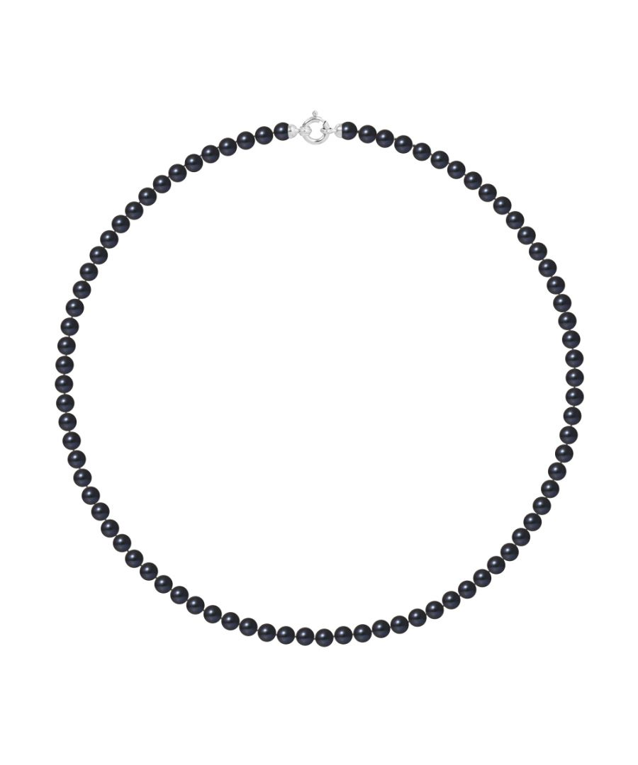 Image for DIADEMA - Necklace - Real Freshwater Pearls - Black Tahitian Style - White Gold