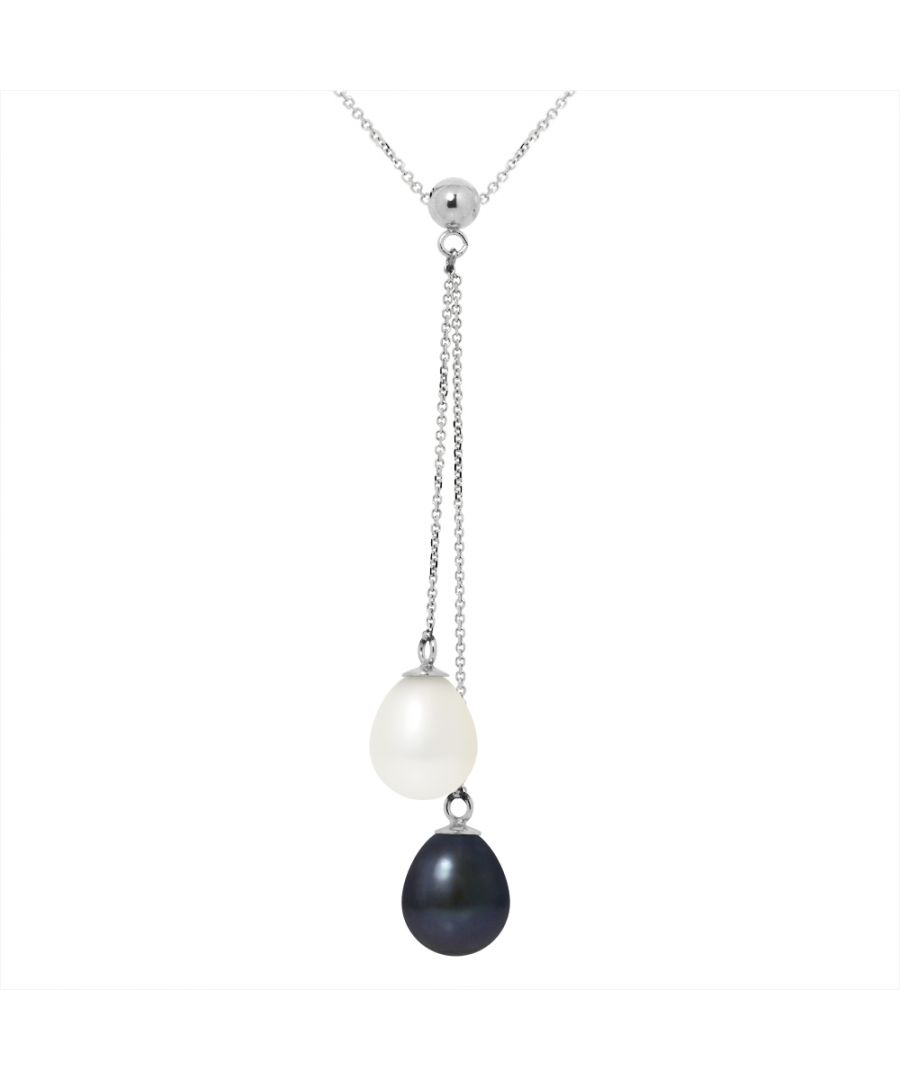 Image for DIADEMA - Necklace You & Me - 2 Real Freshwater Pearls - Black and White - White Gold
