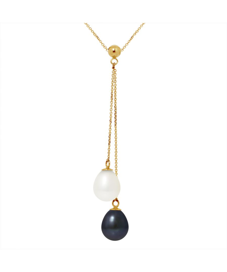 Image for DIADEMA - Necklace You & Me - 2 Real Freshwater Pearls - Black and White - Yellow Gold