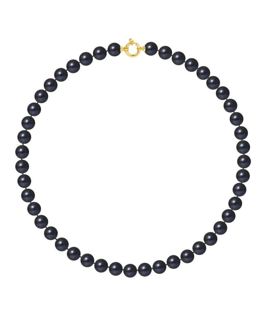 Image for DIADEMA - Necklace - Real Freshwater Pearls - Black Tahitian Style - Yellow Gold