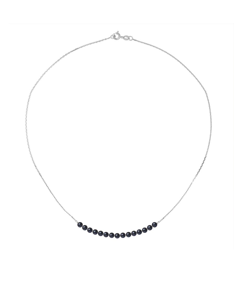 Image for DIADEMA - Bracelet - 15 Real Freshwater Pearls - Black Tahitian Style - Cable Chain in White Gold