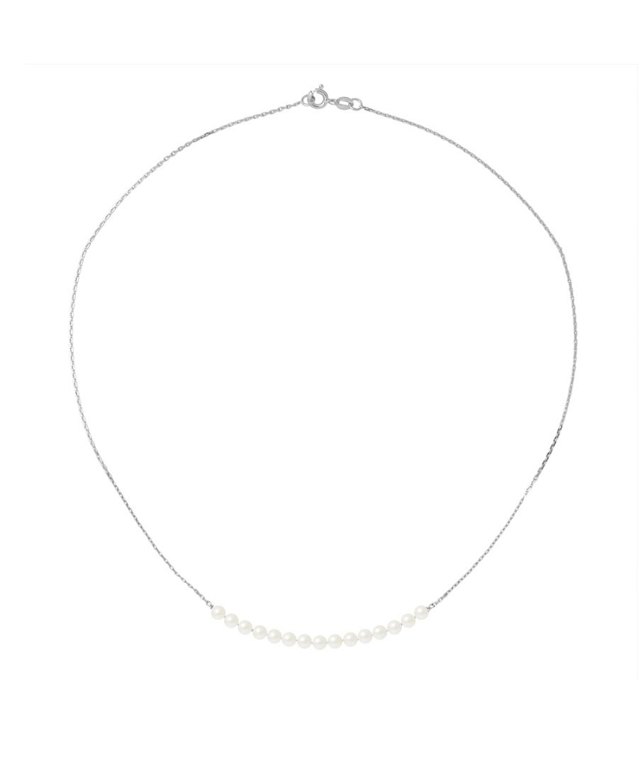 Image for DIADEMA - Necklace - 15 Real Freshwater Pearls - Cable Chain in White Gold