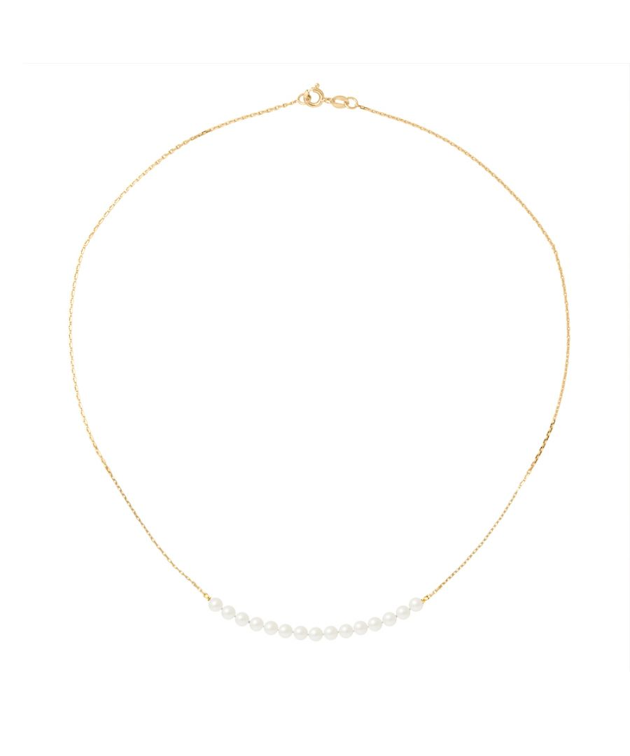 Image for DIADEMA - Necklace - 15 Real Freshwater Pearls - Cable Chain in Yellow Gold