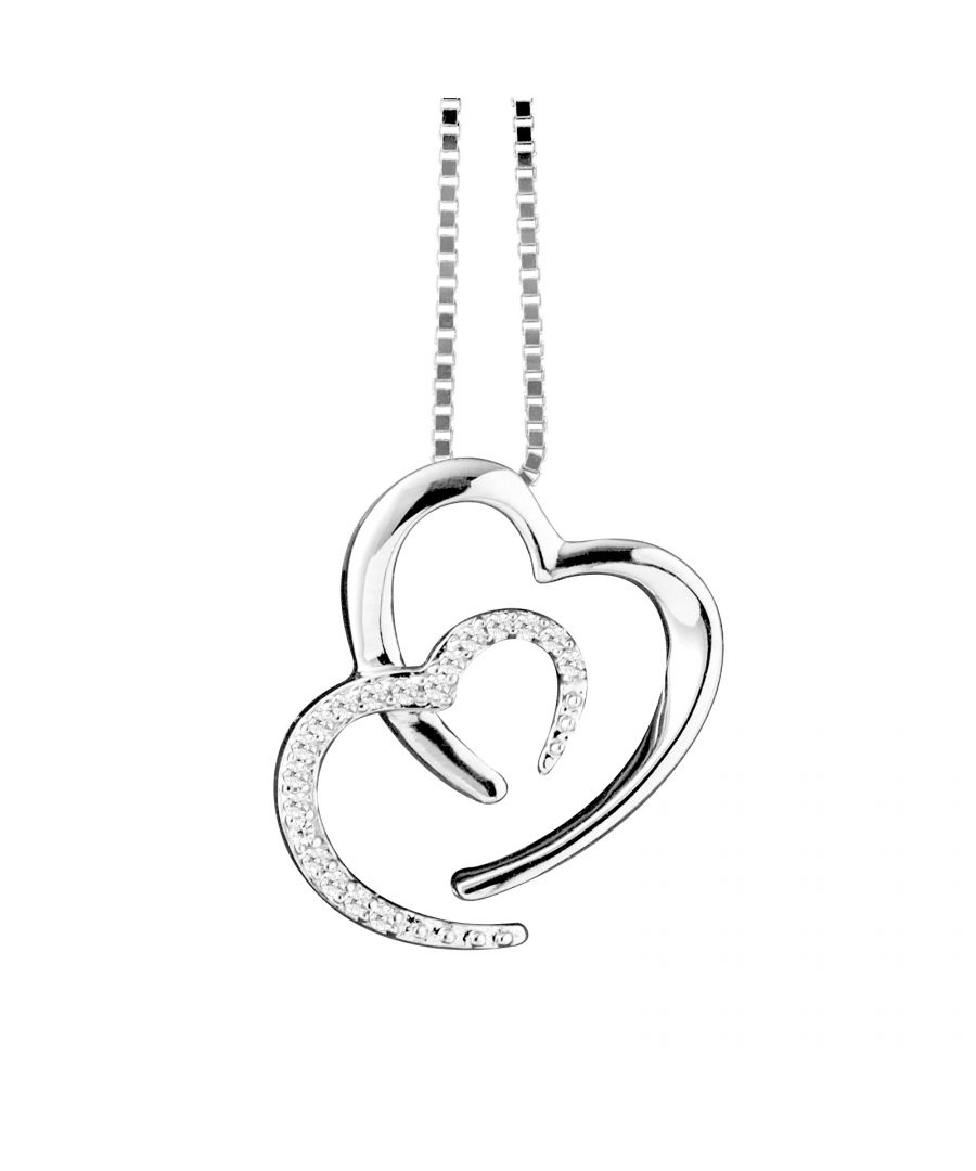 Image for DIADEMA - Necklace Two Hearts - Prestige Jewelery - Diamonds - Chain White Gold