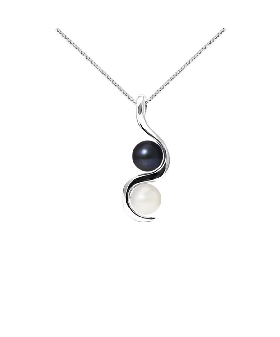 Image for DIADEMA - Pendant You & Me - 2 Real Freshwater Pearls - Black and White - White Gold