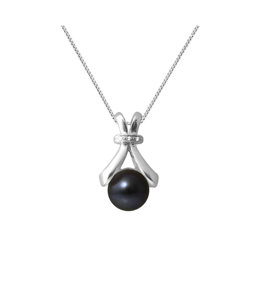 Image for DIADEMA - Pendant - White Gold and Real Freshwater Pearls - Black - Silver