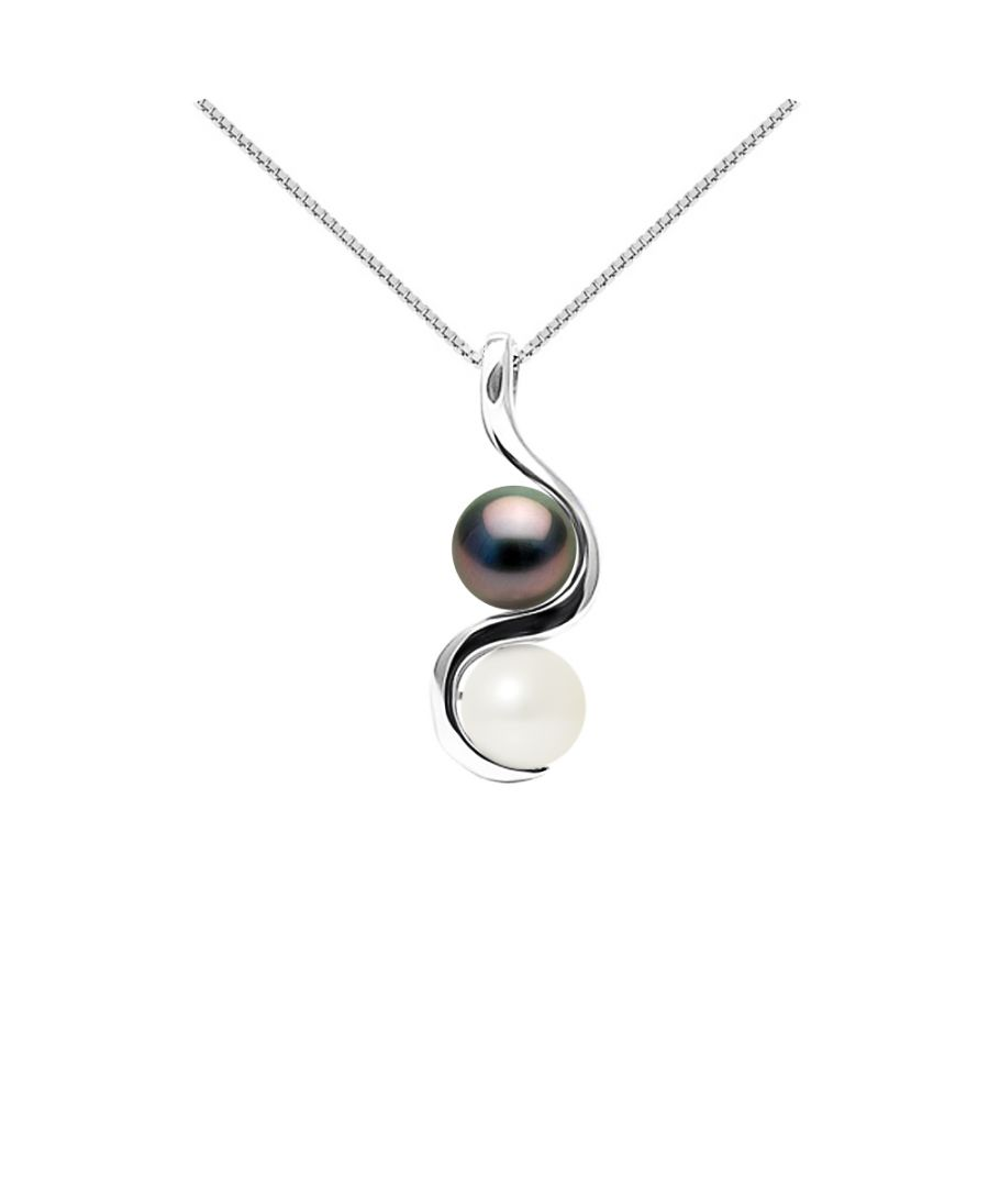 Image for DIADEMA - Pendant You & Me in White Gold - Real Freshwater Pearls and Tahitian Pearls - White