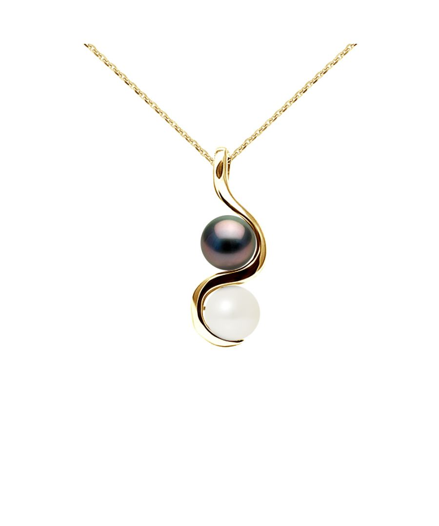 Image for DIADEMA - Pendant You & Me in Yellow Gold - Real Freshwater Pearls and Tahitian Pearls - White