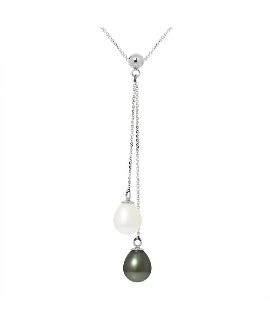 Image for DIADEMA - Necklace - You & Me - 2 Real Freshwater Pearls and Tahitian Pealrs - White Gold
